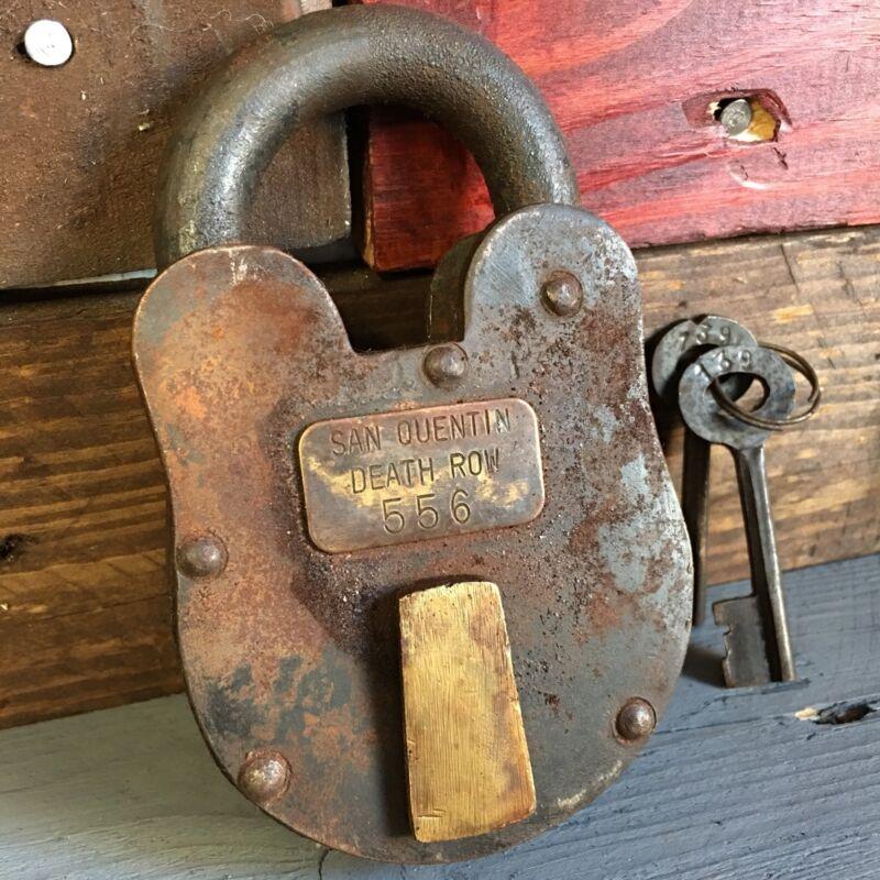 "San Quentin Death Row 3"" x 5"" Cast Iron Working Lock & Keys Rusty Antique Finish"