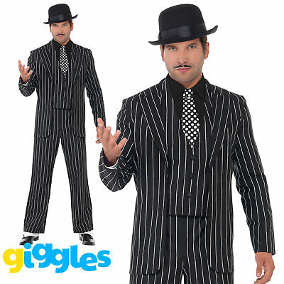 Vintage Gangster Costume Pinstripe Mens Zoot Suit 1920s Mafia Fancy Dress Outfit](1920 Male Costumes)