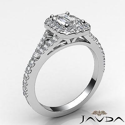 Halo U Cut Pave Split Shank Emerald Diamond Engagement GIA H Color VS2 Ring 1Ct 1