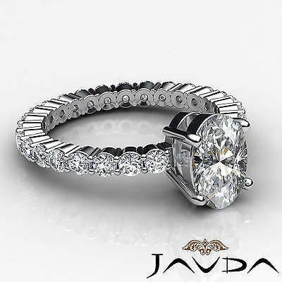 Shared Prong Oval Shape Natural Diamond Engagement Eternity Ring GIA F VS2 1.8Ct 2