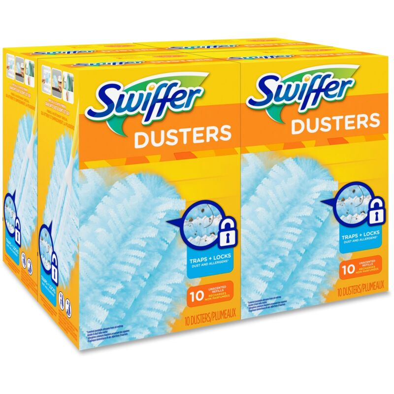 Swiffer Refill Dusters Dust Lock Fiber Light Blue Unscented 10/Box 4 Box/Carton