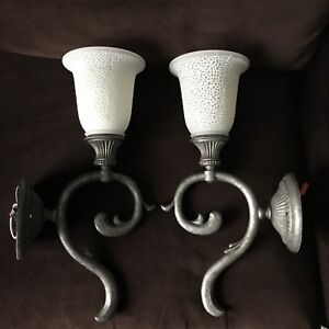 Antiqued Pewter Wall Sconces