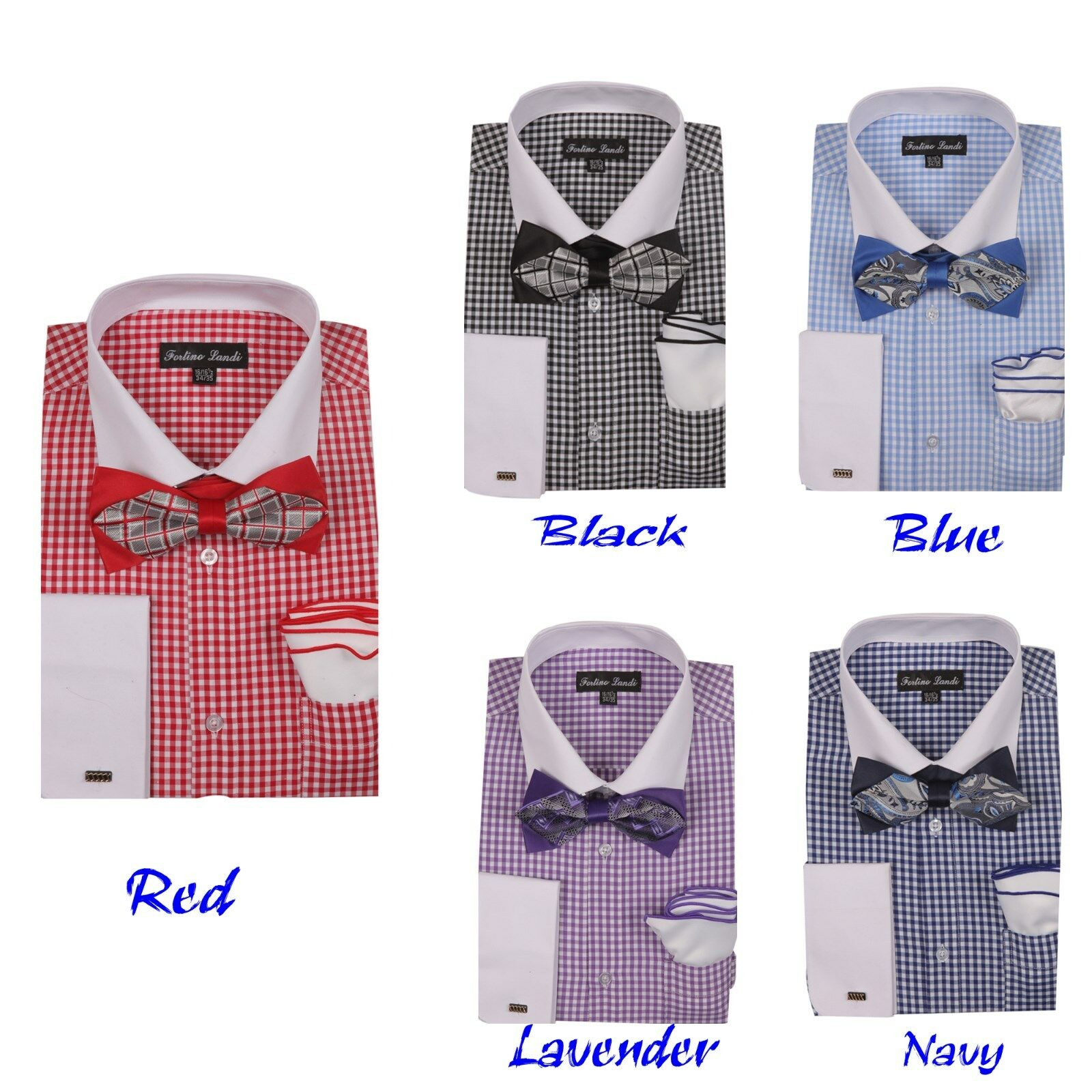 296e0c6b2 Details about Men's Checks Shirt With High Fashion Bow tie and Handkerchief  French Cuff FL628
