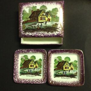 1940s Cigarette Box with 2 Matching Ash Trays for Sale