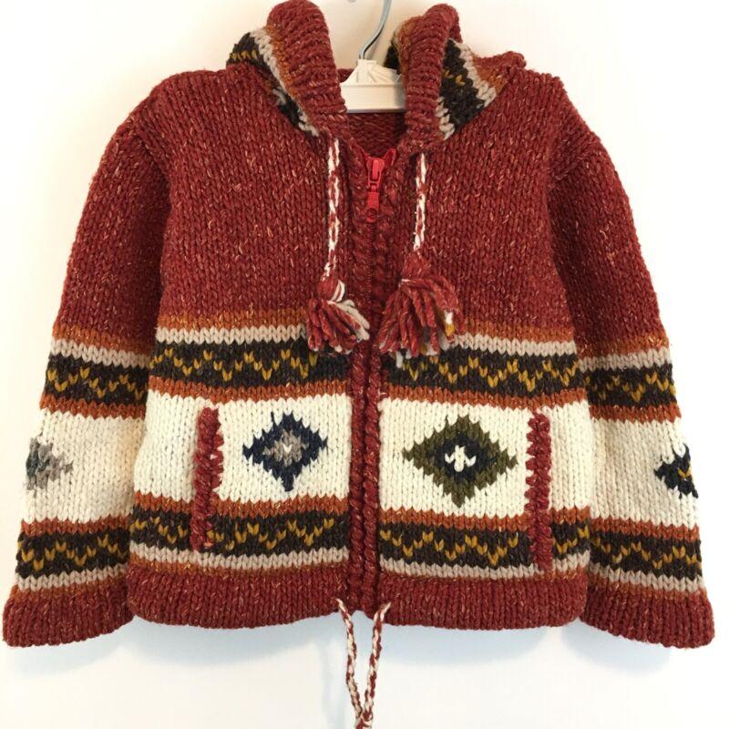 Toddler Size 2 Cardigan Sweater Southwestern Alpaca Wool Handmade in Peru Hood