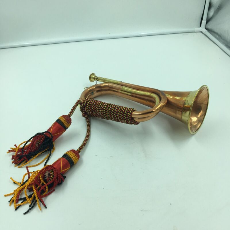 Brass Copper Army Cavalry Trumpet Bugle Musical Instrument w/ Rope Binding 11.5""