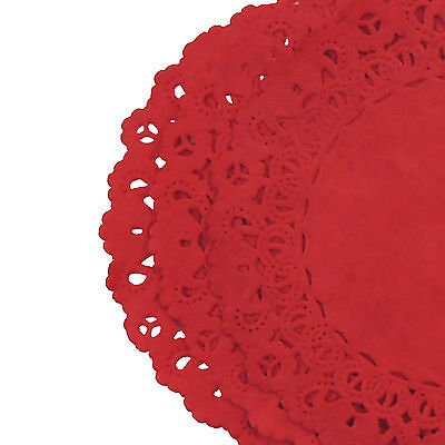 TRUE RED Colored PAPER LACE DOILIES | 4