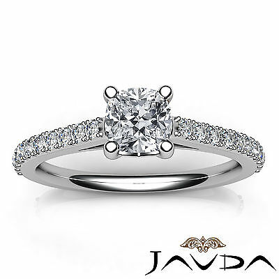 Cushion Shape French V Pave Diamond Engagement Ring GIA Certified F VVS2 1.01Ct 3
