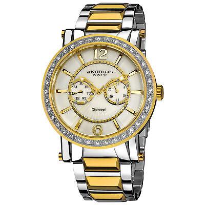 New Men's Akribos XXIV AK465YG Swiss Day/Date Diamond Dial Stainless Steel Watch