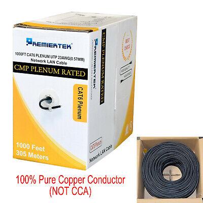 Bulk Bare Copper 1000ft Cat6 Plenum CMP 550Mhz UTP Ethernet LAN Cable LSZH Black (Plenum Cables)