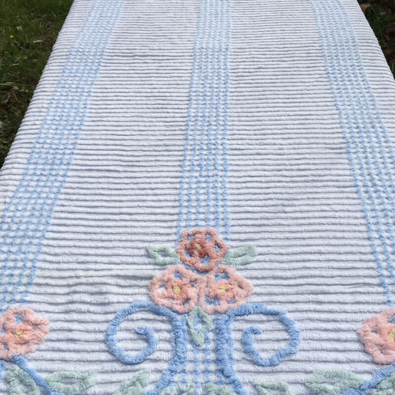 Vintage Chenille Bedspread Blue Peach Green on White 91 x 100 Cottage Core Chic