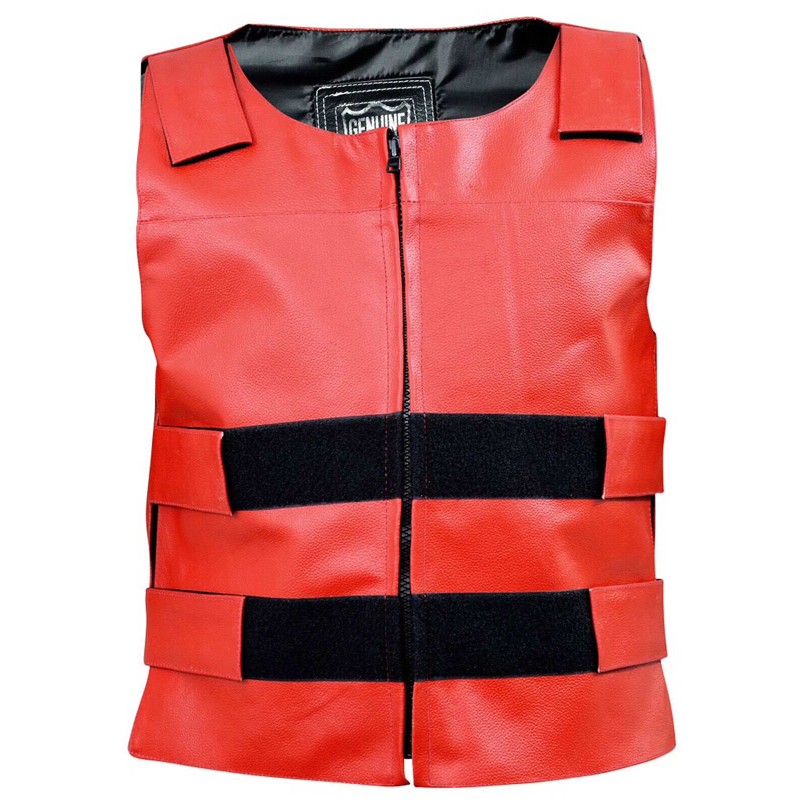Women Bullet Proof style Motorcycle Vest in Real buffalo Leather for biker clubs