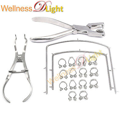 Wdl Rubber Dam Kit Starter Of 18 Pcs With Frame Punch Clamps Dental Instruments