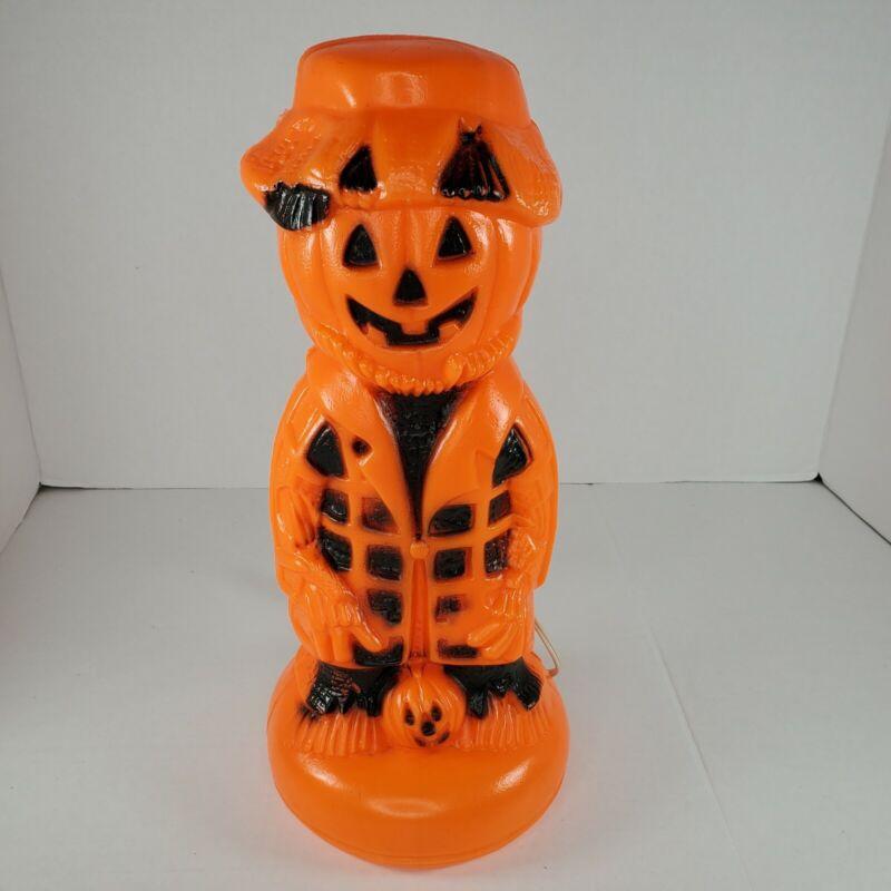 "Vintage Halloween Pumpkin Scarecrow Jack-O-Lantern Blow Mold 13"" Rare"