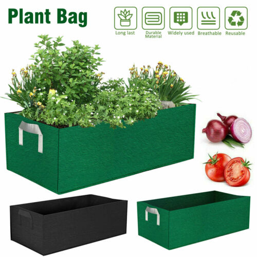 24x12x8in Planting Grow Bag Fabric Raised Flower Bed Garden Vegetable Planter US