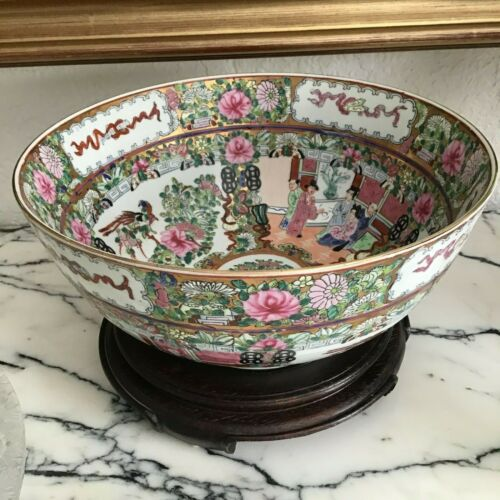 "Vintage Chinese Famille Rose Bowl 12 1/2"" Diameter 6"" Tall"