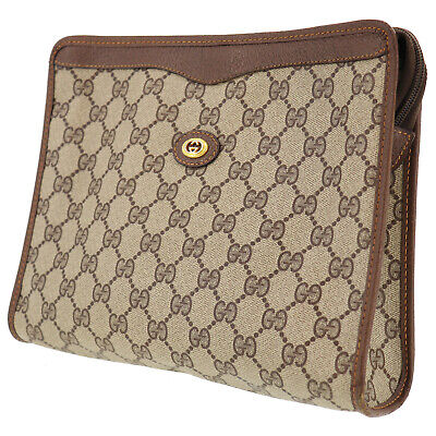 GUCCI GG Plus Clutch Pouch Brown PVC Leather Italy Vintage Authentic #RR35 Y