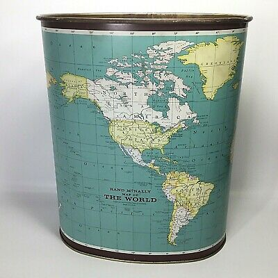Weibro~Vtg~Waste Paper Basket~Map of the World~Rand McNally~Metal~Trash Can~MCM~