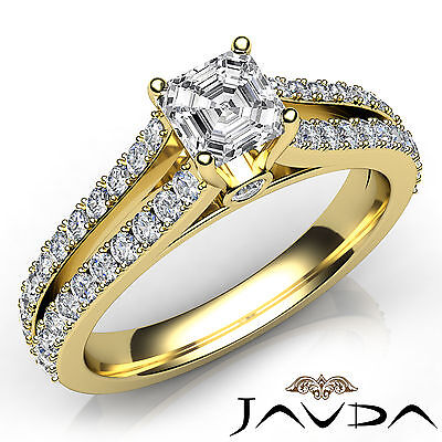 Asscher Cut Diamond Split Shank Engagement Ring GIA G VS1 18k Yellow Gold 1.15Ct