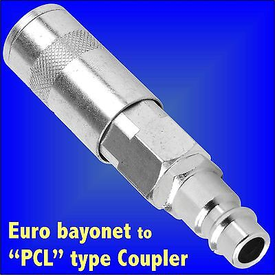 Air Adaptor Converter Euro Male Bayonet Connector - PCL type Female Coupler hose