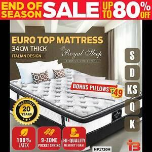 Queen Double King Single Mattress Euro Pillow Top 9 Zone Latex Memor