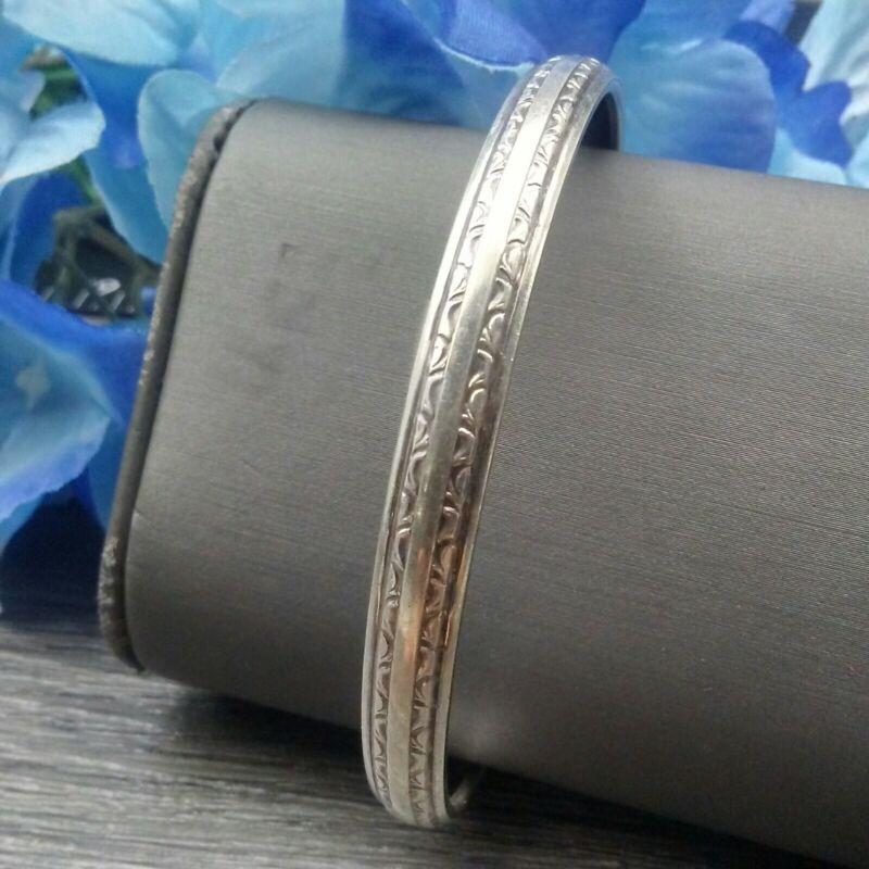Vintage Sterling Silver Bangle Bracelet #E6-51