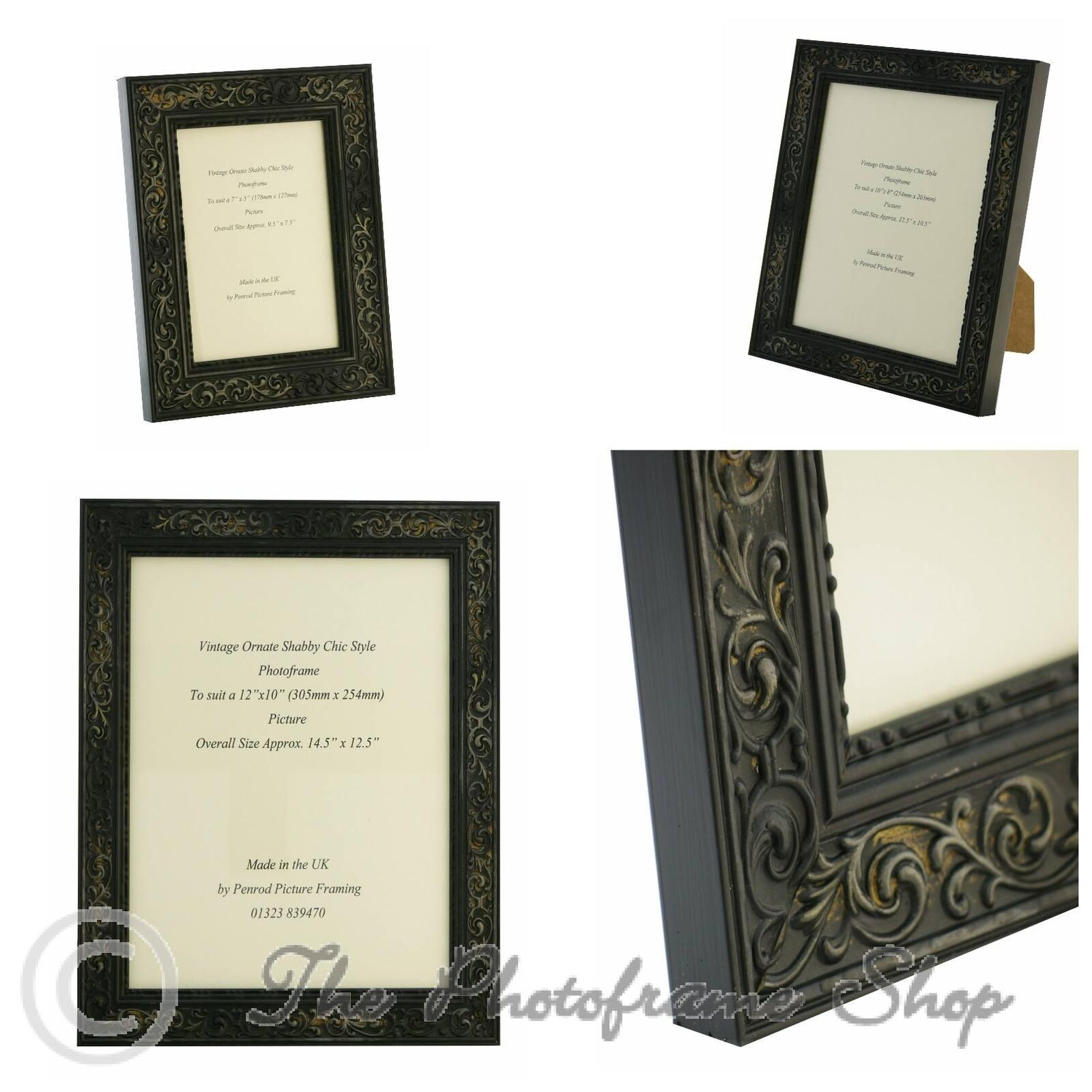 Distressed Black Shabby Chic Vintage Picture Frame - 7\