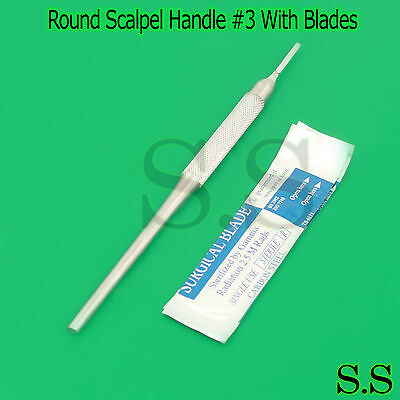 3 Pcs Round Scalpel Handle For Blades 10111215