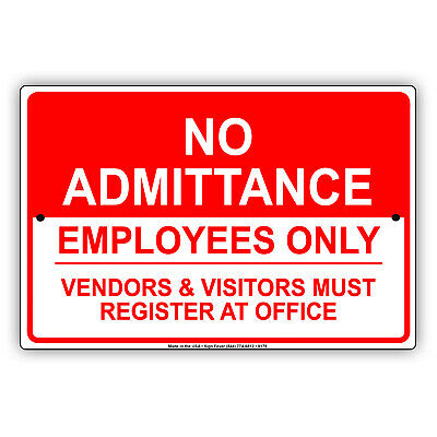 No Admittance Employees Only Wall Art Decor Novelty Notice Aluminum Metal Sign
