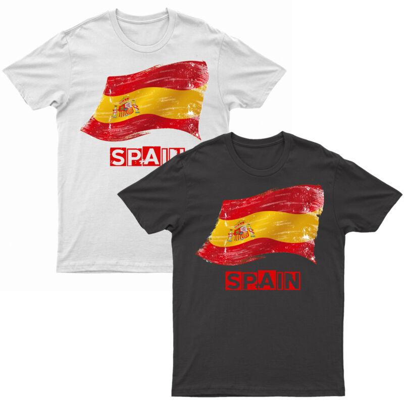 Adults Spain T Shirt Printed Spanish Grunge Flag Short Sleeve Top