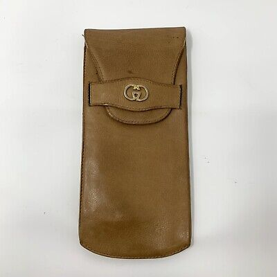 Vintage Gucci Eyeglass Holder Case GG Monogram Logo Tan Leather Beige Sunglases