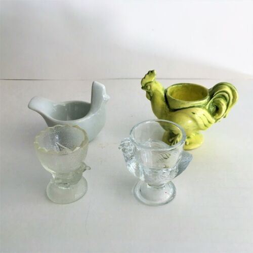 Lot 4 Vintage Ceramic & Glass Chicken Chick Egg Cups