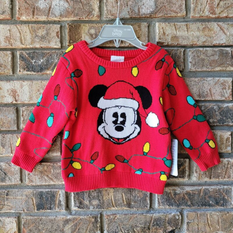 Disney Store Baby Mickey Mouse Christmas Lights Sweater Sz 12-18 Months Infant