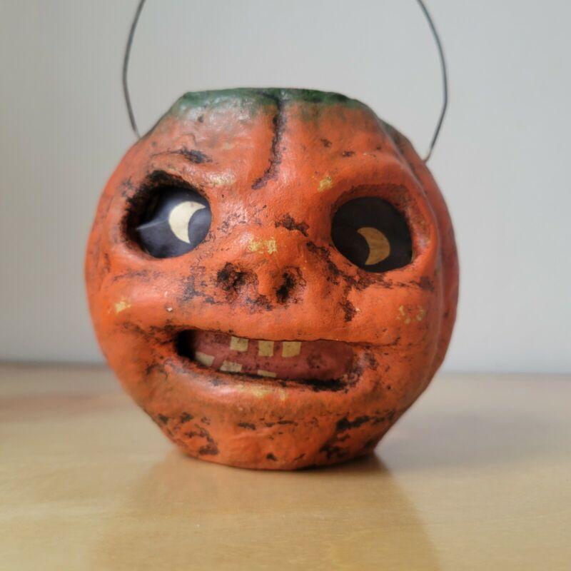 Vintage Paper Mache Pumpkin Jack O Lantern Small - Mean Face