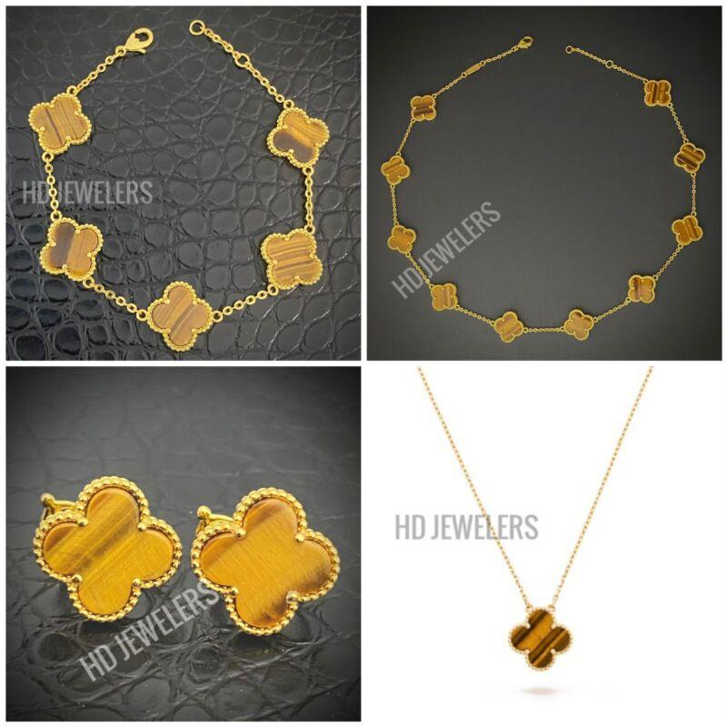 4P Tiger's Eye Jewelry Set Leaf Clover Flower Motif Style Gold Trendy Design