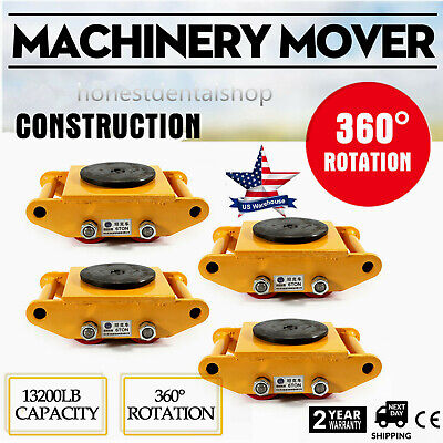 6t 4 Rollers Machine Dolly Skate Machinery Mover Cap 360rotation Industrial New