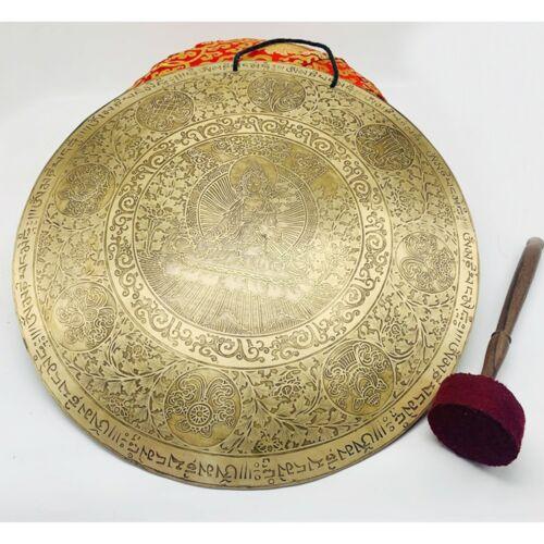 22 inches Diameter greentara carved Gong-Tibetan gong-meditation-Healing-Temple