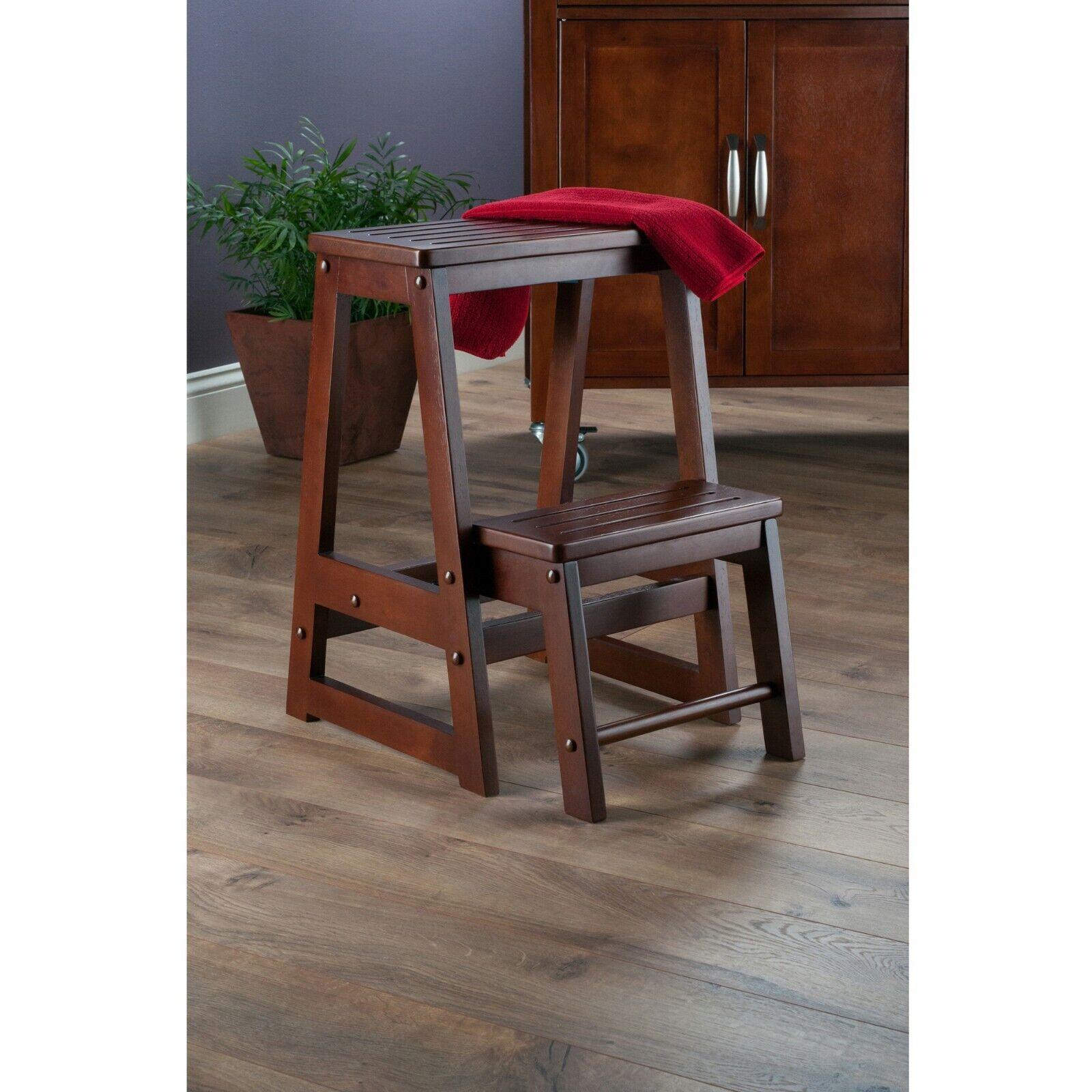 Walnut Folding Step Stool Seat 2 Tier Platform Ladder Kitche