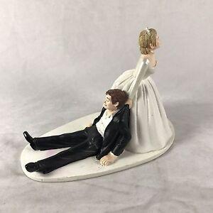 Funny Novelty Bride dragging Groom Wedding Cake Topper Decoration Figurine