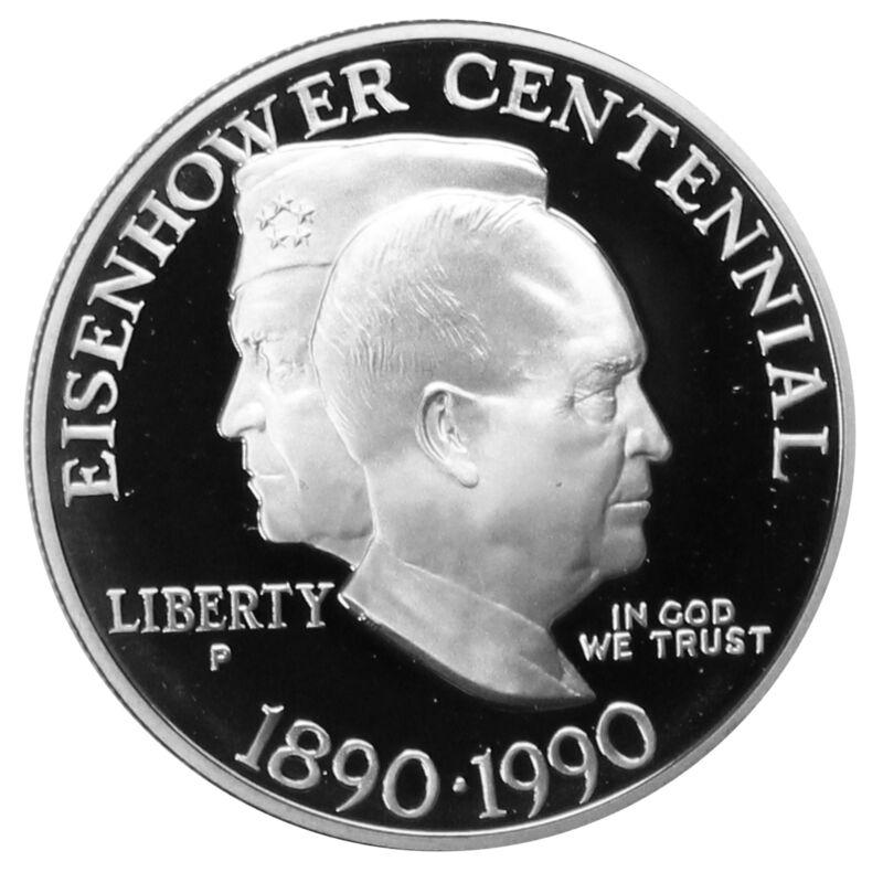 1990 P Eisenhower Proof Centennial Commemorative 90% Silver Dollar US Coin