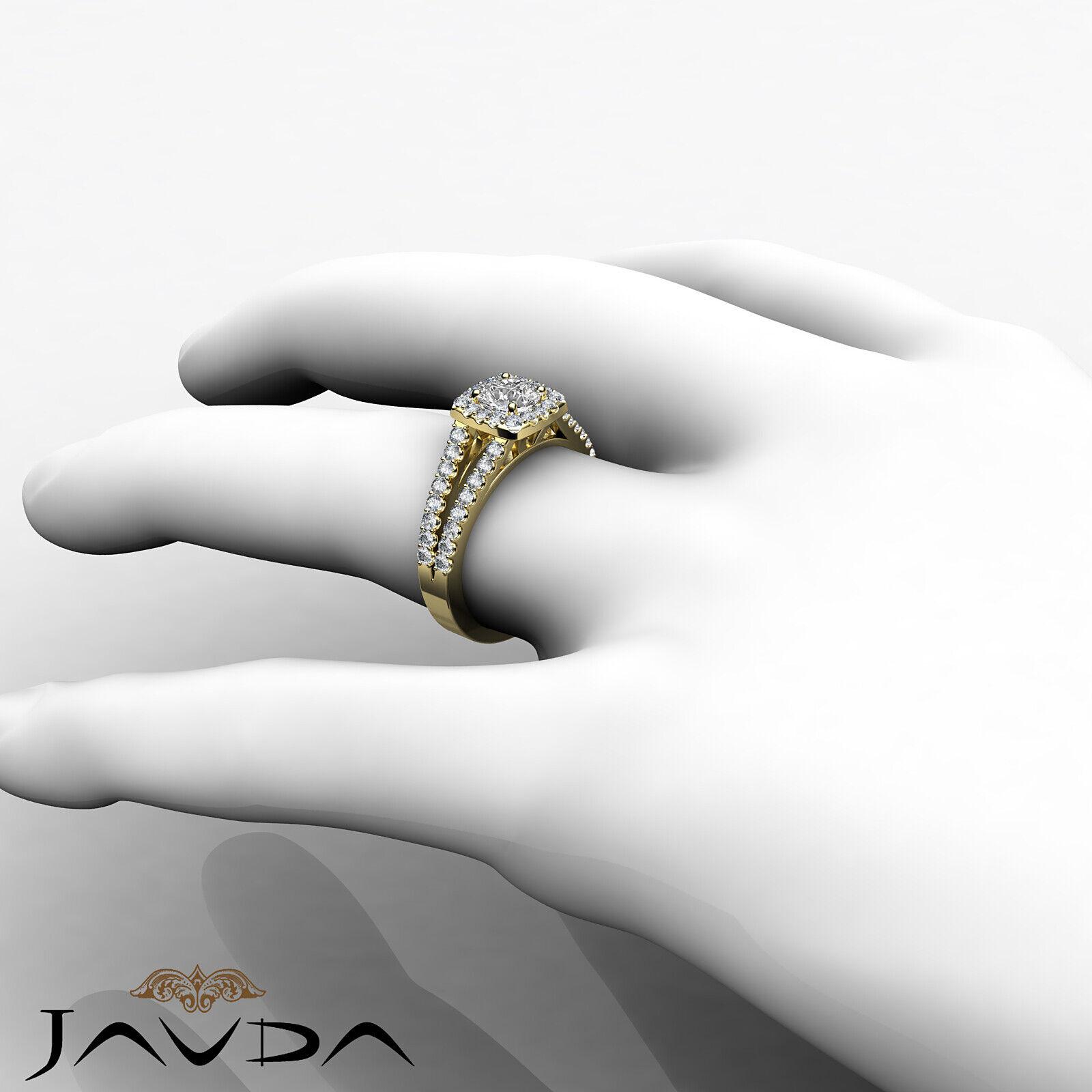 Round Diamond Engagement Halo Split Shank Ring GIA E VVS1 14k White Gold 1 1/4ct 7