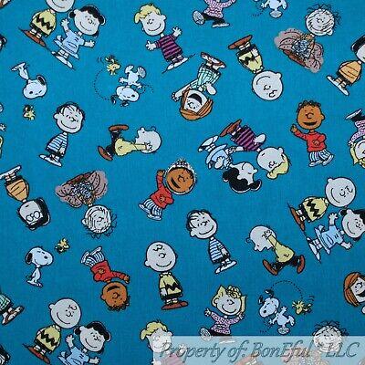 BonEful Fabric Cotton Quilt Teal Charlie Brown Snoopy Friends Girl Boy SCRAP