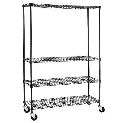 82x48x18 Heavy Duty 4 Tier Shelving Rack Steel Wire Metal Shelf Adjustable