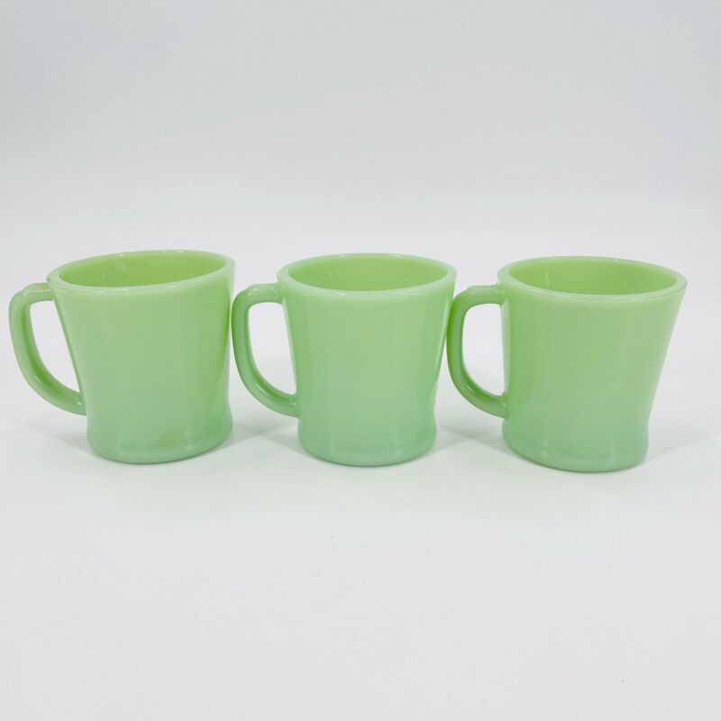 Lot Of 3 Fire King Jadite Oven Ware D Handle Mugs Great Shape