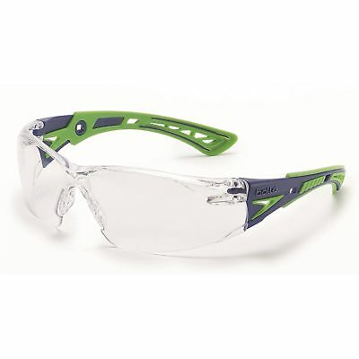 Anti Fog Safety Glasses - Bolle Rush + Safety Glasses with Clear Anti-Fog Lens, Green/Blue Temples