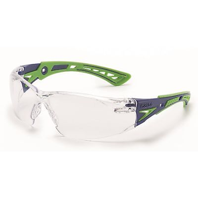 Bolle Rush Safety Glasses With Clear Anti-fog Lens Greenblue Temples