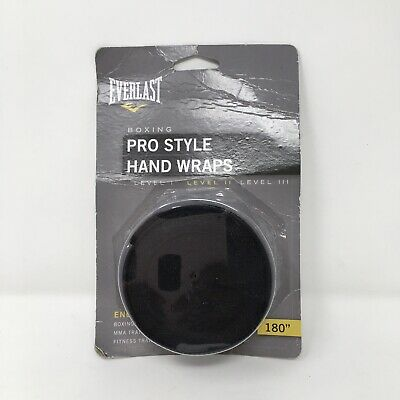 "Everlast Pro Style Hand Wraps Black 180"" Model 4456B Boxing Fitness MMA *NEW*"