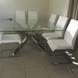 DINING TABLE, LARGE 9 PIECE, UTRA MODERN, GLASS & STAINLESS STEEL Coolangatta Gold Coast South Preview