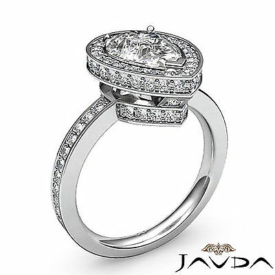 Circa Halo Pave Pear Shape Diamond Engagement Ring GIA Certified G SI1 2.05 Ct 1