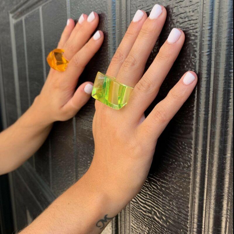 Vintage 1960s Mod Green Orange Chunky Lucite Ring Set